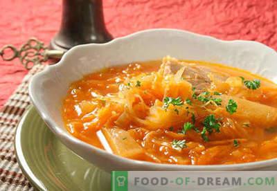 Супа од свежи и кисела зелка. Како правилно и вкусно да готви кисело, зелено, супа со супа во бавен шпорет.