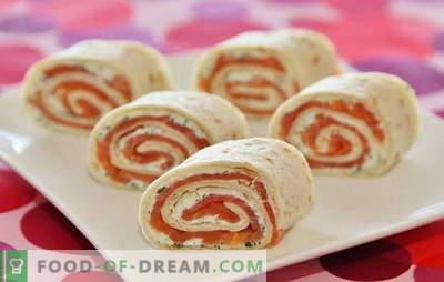 Lavash Rolle mit Lachs ist ein ideales Gericht für Feiertage und Wochentage. Rezepte und Feinheiten der Herstellung einer leckeren Pita-Rolle mit Lachs