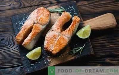 Bistecca di trota al forno - per la festa reale! Ricette per bistecche alla trota in forno con panna, verdure, gamberetti, arance