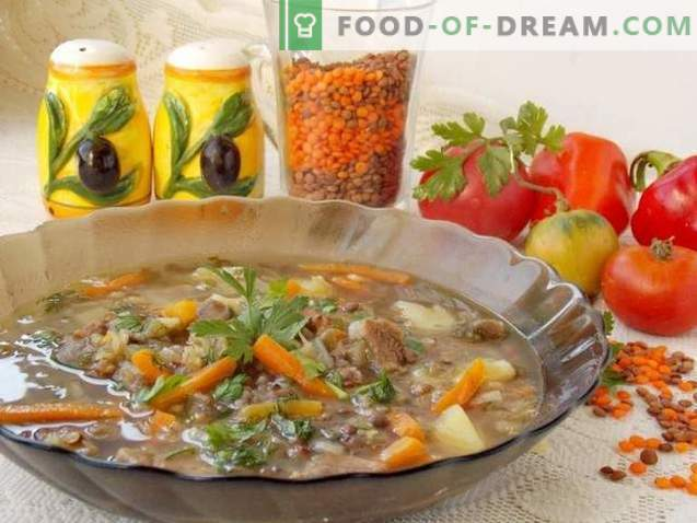 Супа од леќа на супа од говедско месо