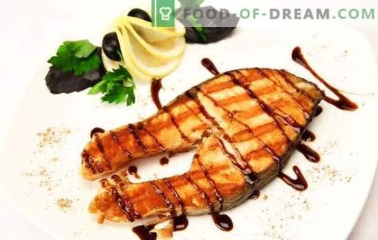 Лосос на скара: благородна риба - достојно готвење! Со ѓумбир, зеленчук во лимонска маринада: различни јадења со лосос на скара