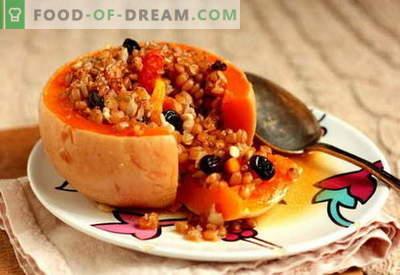 Полнети тиква - најдобрите рецепти. Како да правилно и вкусно готви полнети тиква.