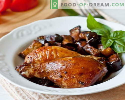Пилешко модри патлиџани - најдобри рецепти. Како правилно и вкусно да готви модриот пилешко.