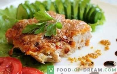 Пилешки рифови во тавата - како да ги сочуваат? Пилешко месо во тава во тава, тесто и други опции