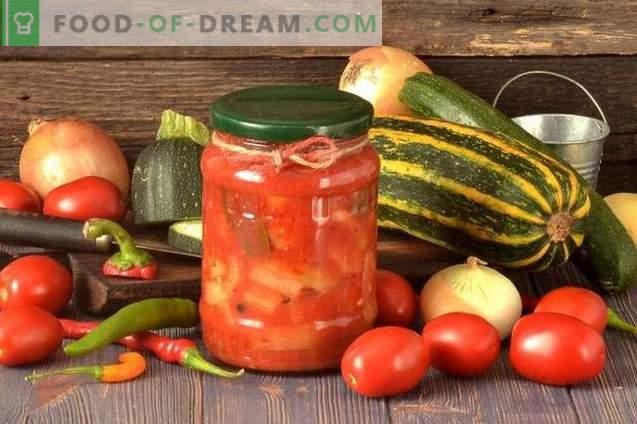 Тиквички лехо со пиперки, домати и кромид за зима