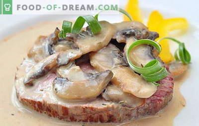 Месо со печурки во бавен шпорет: со пиво, компири, сливи, кисела павлака. Најдобри рецепти за месо со печурки во бавен шпорет