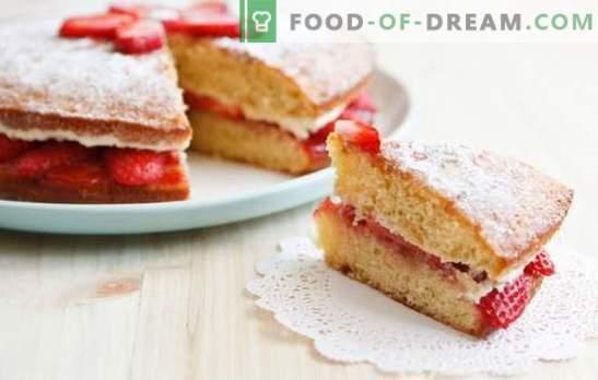 Сунџерска торта со јагоди, сладолед, шербет и летно расположение. Бисквит десерт со јагоди - кога е жешко надвор!