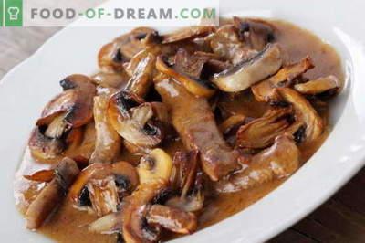 Месо со печурки - најдобри рецепти. Како правилно и вкусно готви месо со печурки.