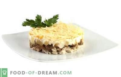 Лесна, сочна салата со пилешко, ананас и шампињони. Едноставни рецепти на различни салати со пилешко, ананас, печурки
