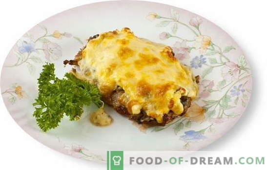 Месото со печурки и сирење во рерната е одличен додаток на гарнир. Најдобри рецепти за готвење месо со печурки и сирење во рерната