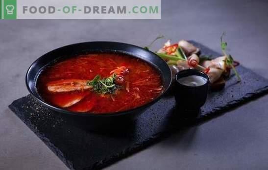 Црвен бореч: чекор по чекор рецепти за најсветлата вечера. Готвење месо и вегетаријанска црвена borscht за чекор-по-чекор рецепти