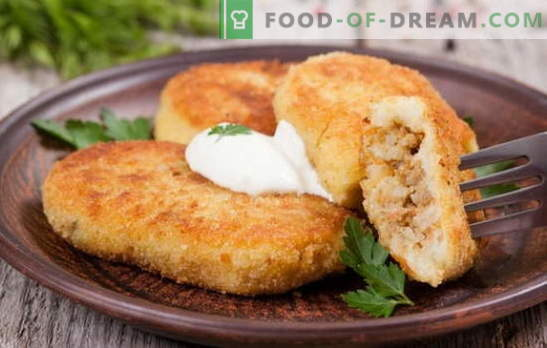 Компир zrazy со месо - идеално јадење за закуска. Рецепти компир зраз со месо: во рерна и во тавата