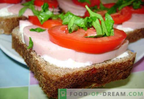 Колбас сендвичи се најдобри рецепти. Како брзо и вкусно готви сендвичи со колбаси.