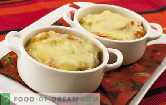 Компири со сирење - волшебно стапче. Компири рецепти со сирење: печурки, зеленчук, месо