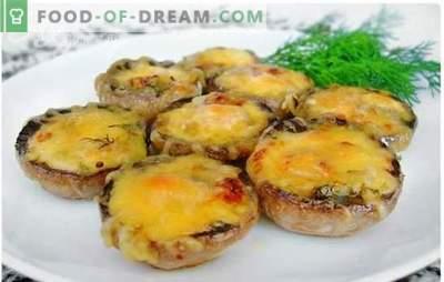 Печурки печени во рерна со сирење - јадење со благ крем вкус. Докажани рецепти од печурки печени во рерна со сирење
