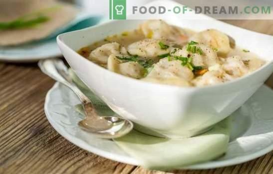 Вкусни кнедли со супа од месо, печурки, зеленчук и зеленчук. Оригинални рецепти на кнедли со супа за семејство и гости