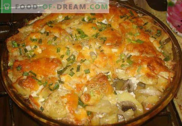 Свинско месо на француски во рерна, во фолија, со печурки, компири