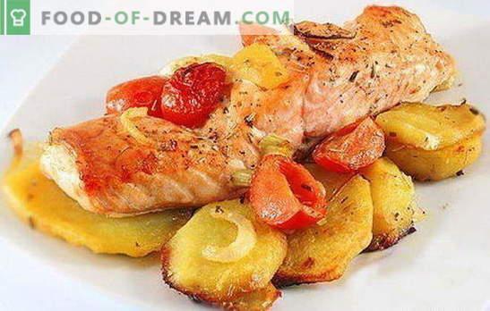 Црвена риба со компири - комбинација на благородништво и едноставност. Рецепти на црвена риба со компири: во фолија, рерна, во тава