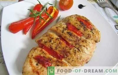 Пилешки гради со домати: Топ 10 најдобри рецепти на авторот. СРЈ, кикири, печете го пилешкото месо со домати