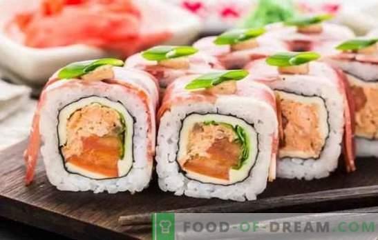 Sushi thuis: stap-voor-stap recepten en trucs. Hoe kook je rijst, vul en draai sushi thuis