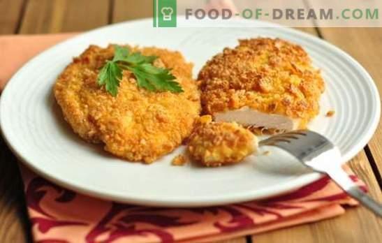 Пилешки гради во тесто е познат производ во нова облека. Што тесто може да се користи за пилешки гради во тесто?