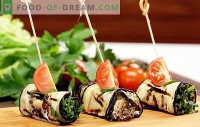 Модар патлиџан ролни со сирење и лук - вкусен! Најдобри идеи за ролки со модар патлиџан со сирење и лук