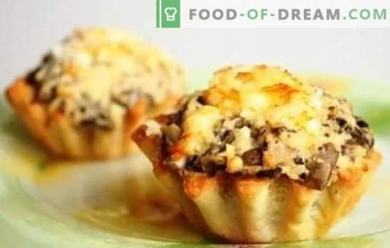 Жулиен во тарлетките е вкусен и убав! Рецепти Julienne во tartlets со печурки и пилешко, сирење, сланина и други