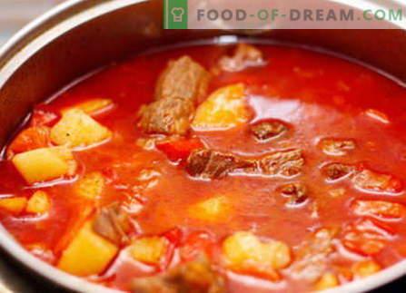 Свински гулаш - најдобри рецепти. Како да правилно и вкусно готви свинско гулаш.