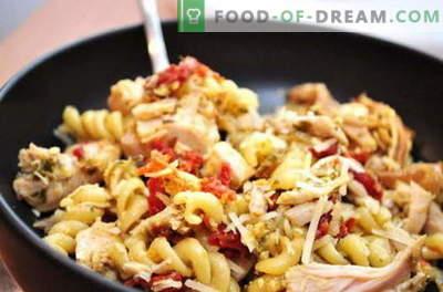 Пилешки тестенини - најдобри рецепти. Како правилно и вкусно гответе пилешко со тестенини во бавен шпорет.