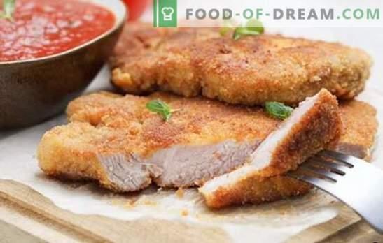 Свинско месо во рерна - класика! Избор на свинско месо рецепти во рерна: breaded, со сос и зеленчук