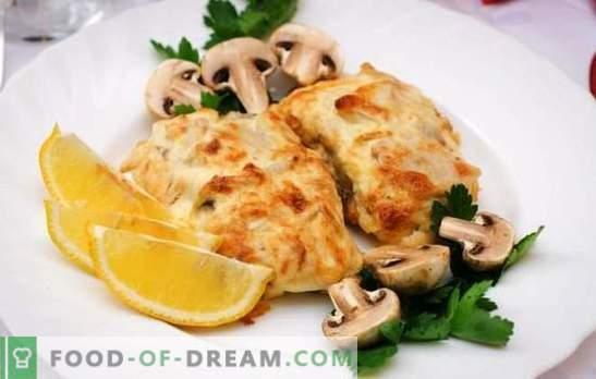 Торта со сирење е нежна риба под аппетитна кора. Едноставни и оригинални рецепти на треска со сирење