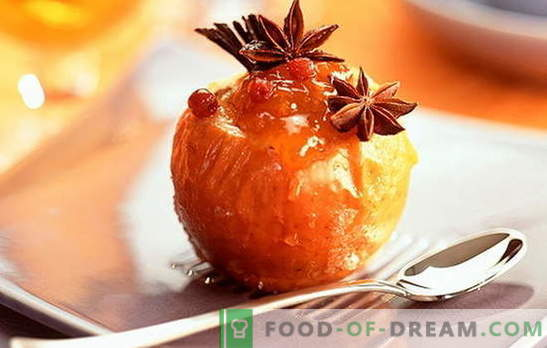Печени јаболка во рерната - вкусна носталгија. Рецепти од печени јаболка во рерната: со мед, урда, ореви, ориз, ѓумбир