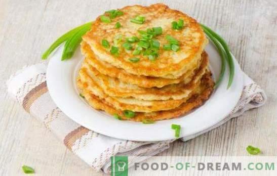 Палачинки со зелен кромид - прекрасен мирис! Фриттери со зелен кромид на кефир, тиквички, црн дроб, сирење и мелено месо