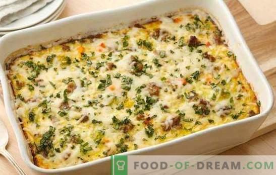 Раст од зеленчук со мелено месо - едноставно и задоволувачко јадење. Избор на најдобри домашни рецепти за растителни тепсии со мелено месо