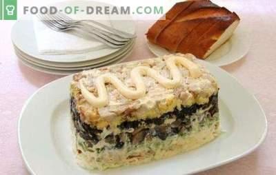 Салата со пушеле пилешко и печурки е празнична декорација на маса. Најдобри рецепти за салати со пушеле пилешко и печурки