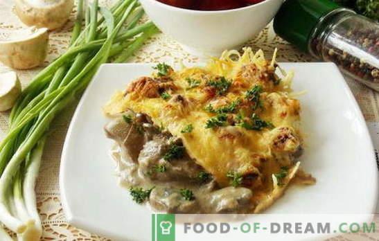 Разновидни рецепти за пилешки црн дроб со печурки. Што може да се додаде на јадења од пилешки црн дроб со печурки: зеленчук, кисела павлака, крем