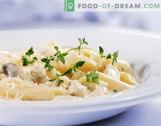 Пилешки тестенини во крем сос е најдобриот рецепт. Како правилно и вкусно готвач тестенини со пилешко во крем сос.