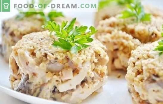 Салата со лигњи: чекор по чекор рецепт за празнична или едноставна закуска. Чекор по чекор рецепти за салати со лигњи: готвење, уживајќи
