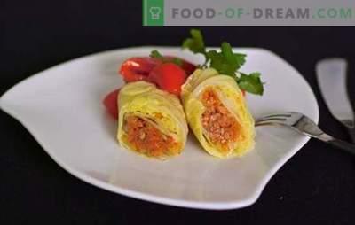 Зелената полнета зелка е посна верзија на омилено јадење. Рецепти и тајни готвење зеленчук зелка ролни со тиква, репа, печурки, скара