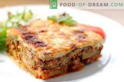 Mousaka со модри патлиџани - најдобри рецепти. Како да се правилно и вкусно готви модар патлиџан мусака.
