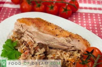 Пилешко полнети со ориз - најдобрите рецепти. Како правилно и вкусно готви полнети пилешки ориз.