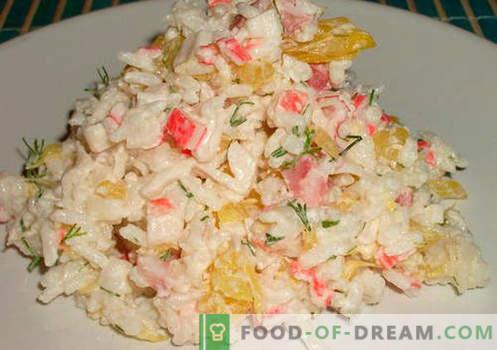 Рак салата со ориз докажани рецепти. Како да се готви рак салата со ориз.