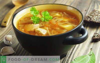 Рецепти за супи од свежа зелка, супа од зелка, борщ. Риба и месо,