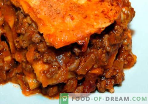 Лаваш Лазања - вистинските рецепти. Како брзо и вкусно готви лазања од пита.
