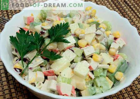 Салата со авокадо и краковски стапчиња - најдобриот рецепт. Како да се правилно и вкусно да се подготви салата од авокадо и ракови.