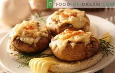 Полнети шампињони во рерна со сирење - спектакуларни печурки! Рецепти за полнети шампињони во рерна со сирење и не само