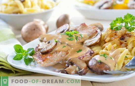 Месо во павлака - разни вкусни јадења и рецепти. Рецепти за месо во сос од павлака: полнети, стекови, гулаш