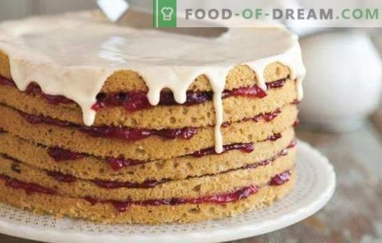 Торта направена од подготвени сунѓерски колачи - основно! Рецепти за овошје, орев, чоколадни колачи од готови сунѓерници