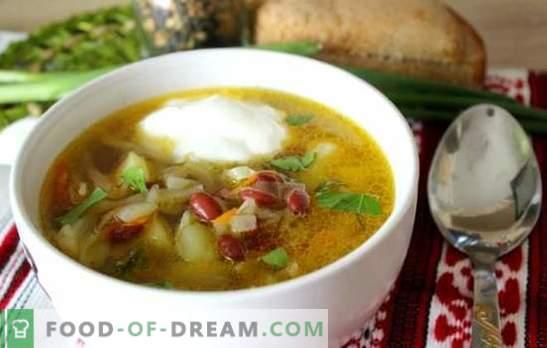 Супа со грав - традиционално топло јадење во нова варијација. Најдобрите рецепти на супа од зелка со грав, зелка, модар патлиџан, печурки