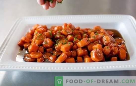 Салата од пржено морков - вкусно! Фрид салата со морков рецепти со кинеска зелка, чипс, јазик, печурки